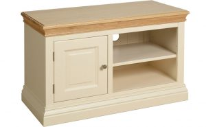 Lundy Painted Ivory With Oak Top  1 Door TV Cabinet | Fully Assembled