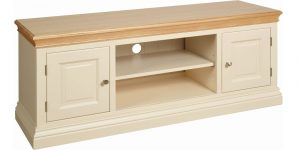 Lundy Painted Ivory With Oak Top  2 Door TV Cabinet | Fully Assembled