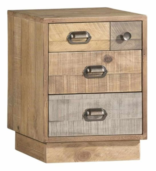 Classic Loft Reclaimed Pine Bedside Cabinet with Plinth