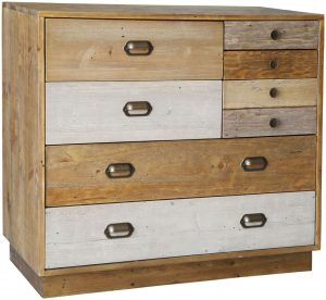 Classic Loft Reclaimed Pine 7 Drawer Chest with Plinth