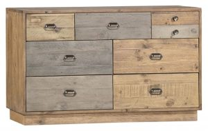 Classic Loft Reclaimed Pine 7 Drawer Wide Chest with Plinth