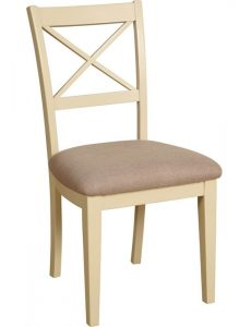 Lundy Painted Ivory With Oak Top  Cross Back Dining Chair (Pair) | Fully Assembled