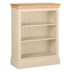 Lundy Painted Ivory With Oak Top  3′ Bookcase | Fully Assembled