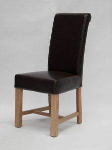Louisa Chunky Scroll Brown Dining Chair (Pair)