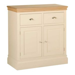 Lundy Painted Ivory With Oak Top  2 Drawer Sideboard | Fully Assembled