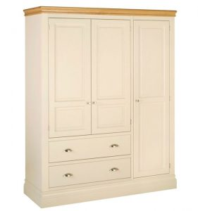 Lundy Painted Ivory With Oak Top  Triple Wardrobe with 2 Drawers & 3 Doors
