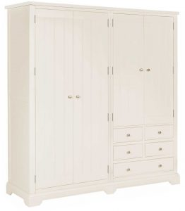 Classic Lily Painted White 4 Door Wardrobe With Drawers