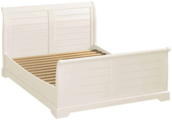 Classic Lily Painted White 5′ King Size Sleigh Bed