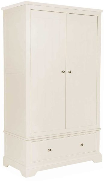 Classic Lily Painted White Gents 2 Door Double Wardrobe With Drawers