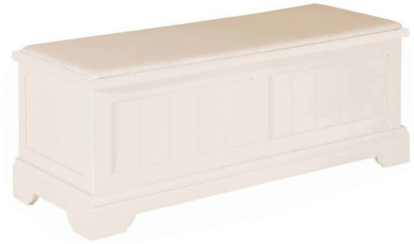 Classic Lily Painted White Ottoman   Fully Assembled