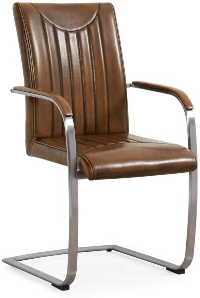 Industrial Dining Chair – retro stitch-vintage-stainless frame (Pair)