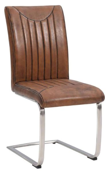 Industrial Dining Chair-retro stitch-vintage-stainless frame (Pair)