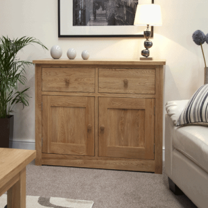 Homestyle Torino Solid Oak Medium Sideboard 2 Drawer 2 Door | Fully Assembled