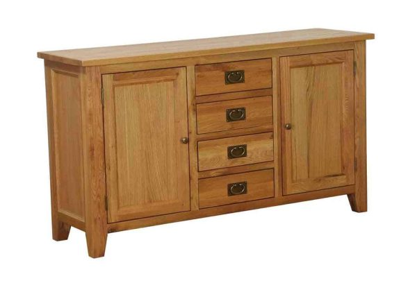 Besp-Oak Vancouver Oak 4 Drawer 2 Door Large Sideboard | Fully Assembled