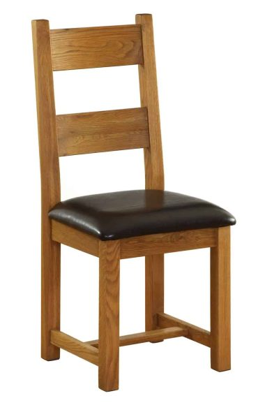 Besp-Oak Vancouver Oak Dining Chair With Chocolate Brown Leather Seat (Pack of 2) | Fully Assembled