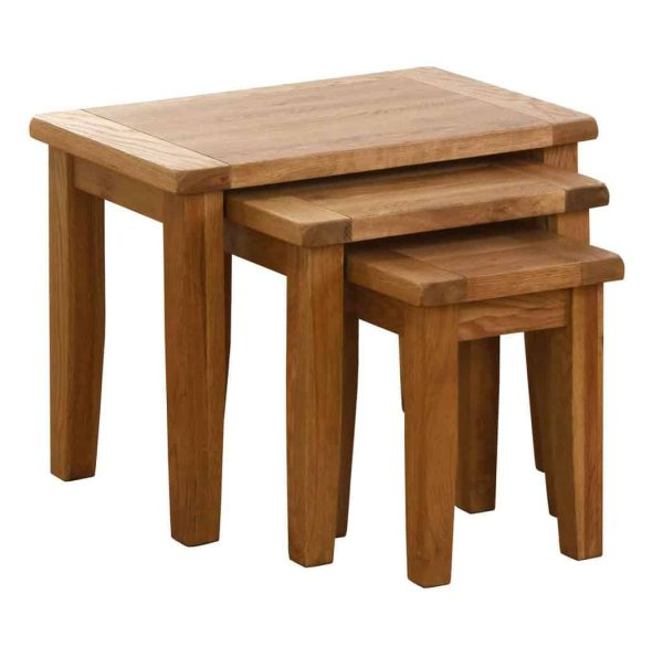 Besp-Oak Vancouver Oak Nest Of 3 Tables | Fully Assembled