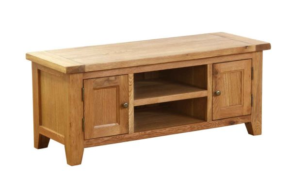 Besp-Oak Vancouver Oak VSP 2 Door 1 Shelf TV Unit | Fully Assembled