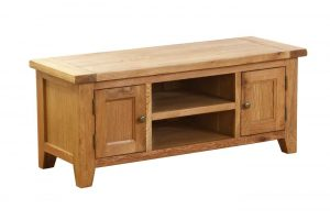 Besp-Oak Vancouver Oak VSP 2 Door 1 Shelf TV Unit | Fully Assembled