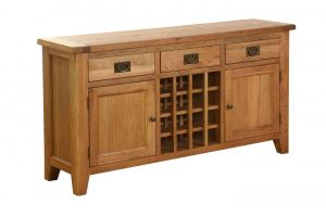 Besp-Oak Vancouver Oak 3 Drawer 2 Door Wine Sideboard | Fully Assembled