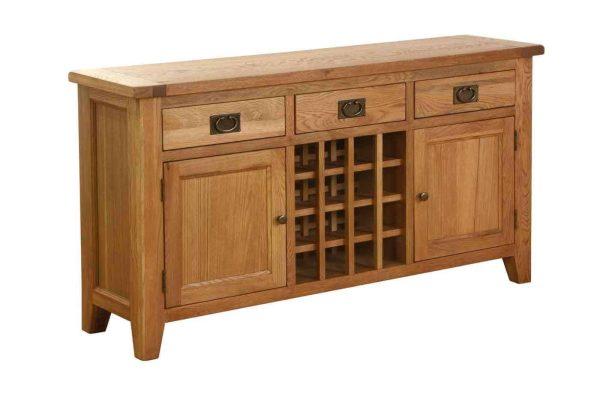 Besp-Oak Vancouver Oak 3 Drawer 2 Door Wine Sideboard   Fully Assembled