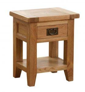 Besp-Oak Vancouver Oak 1 Drawer Lamp Table | Fully Assembled