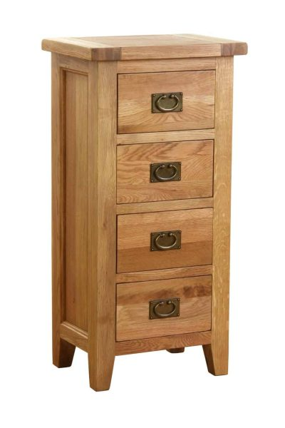 Besp-Oak Vancouver Oak 4 Drawer Tall Narrow Chest | Fully Assembled