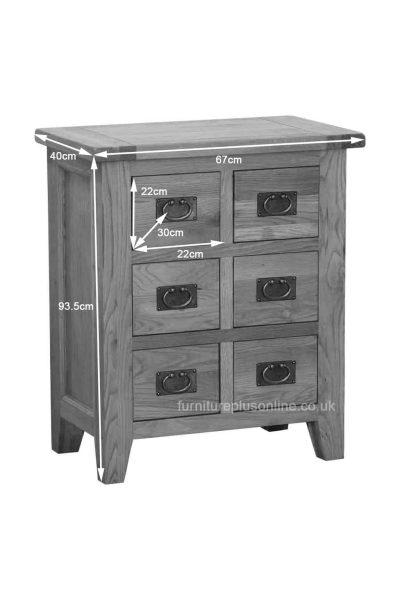 Besp-Oak Vancouver Oak 6 Drawer CD/DVD Cabinet   Fully Assembled