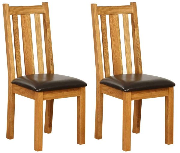 Besp-Oak Vancouver Oak Vertical Slat Dining Chair with Chocolate Leather Seat (Pack of 2 | Fully Assembled