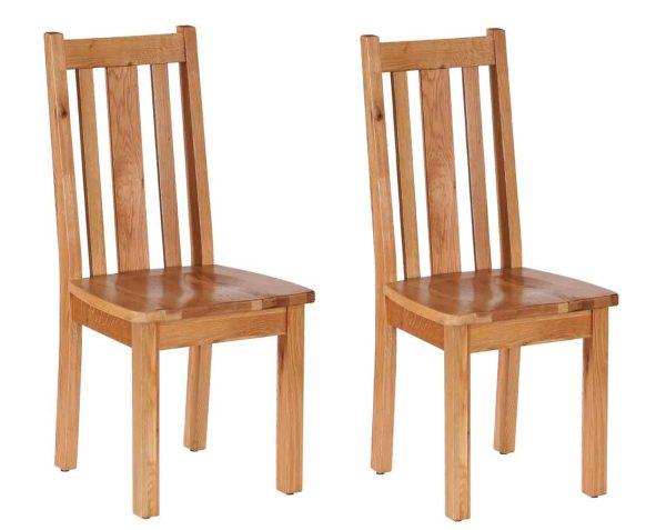 Besp-Oak Vancouver Oak Vertical Slat Dining Chair with Timber Seat (Pack of 2) | Fully Assembled