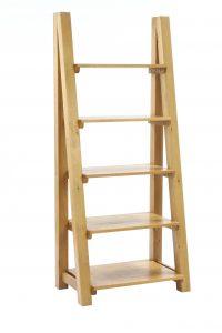 Besp-Oak Vancouver Oak Ladder Bookcase with 5 Shelves