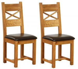 Besp-Oak Vancouver Oak Cross Back Dining Chair with Chocolate Leather Seat (Pack of 2 | Fully Assembled