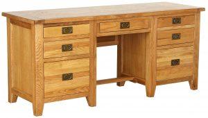 Besp-Oak Vancouver Oak Twin Pedestal Desk