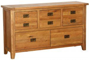 Besp-Oak Vancouver Oak 5 Drawer Wide Dresser Chest | Fully Assembled