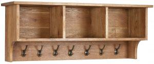 Besp-Oak Vancouver Oak Wall Shelf with Coat Rack | Fully Assembled