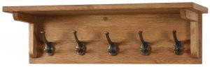Besp-Oak Vancouver Oak 5 Hook Coat Rack with Shelf (70cm) | Fully Assembled