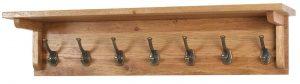 Besp-Oak Vancouver Oak 7 Hook Coat Rack with Shelf (90cm) | Fully Assembled
