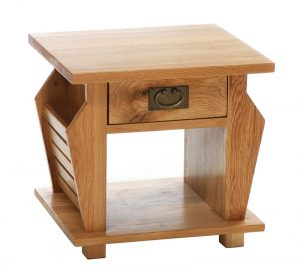 Besp-Oak Vancouver Oak Magazine Rack Lamp Table with 1 Drawer | Fully Assembled