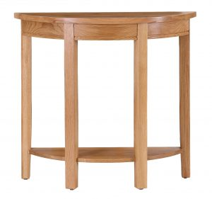 Besp-Oak Vancouver Oak Curved Console Hall Table (No Drawer)