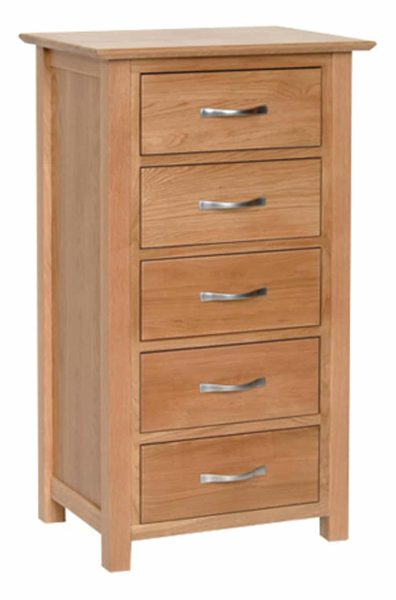 Devonshire New Oak 5 Drawer Wellington Chest | Fully Assembled