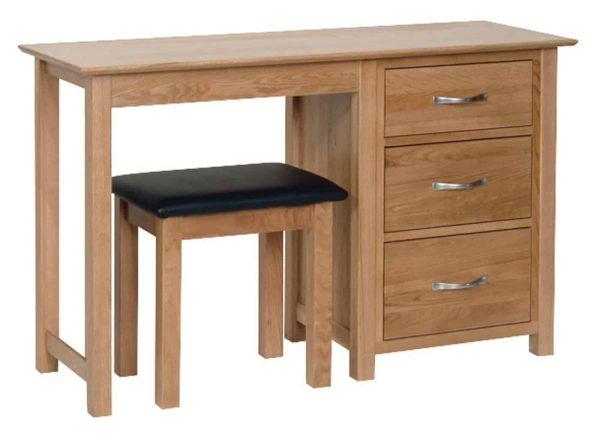 Devonshire New Oak 3 Drawer Single Pedestal Dressing Table