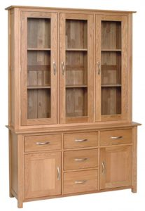 "Devonshire New Oak 4'6"" Glass Display Dresser (Complete Unit)"