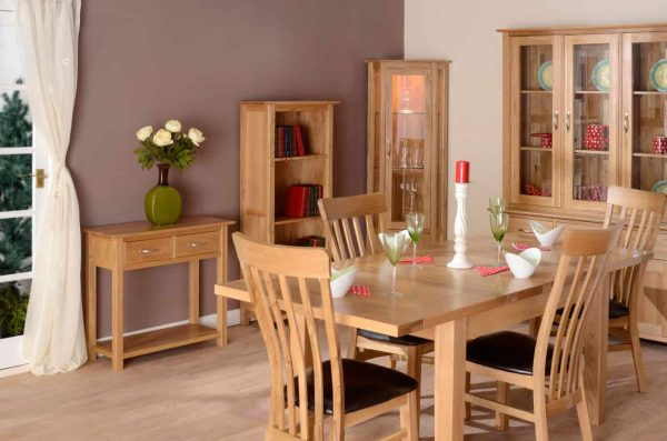Devonshire New Oak Glass Display Unit With Light & 2 Drawers | Fully Assembled