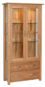 Devonshire New Oak Glass Display Unit With Light & 2 Drawers| Fully Assembled