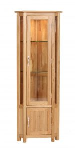 Devonshire New Oak Corner Display Unity With Light & Cupboard| Fully Assembled