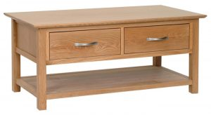 Devonshire New Oak Coffee Table with Shelf and 2 Drawers | Fully Assembled