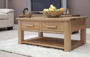 Homestyle Opus Solid Oak 3ft x 2ft Coffee Table with 2 Drawers