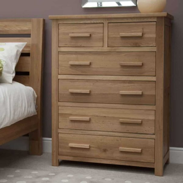 Homestyle Opus Solid Oak 2 Over 4 Drawer Chest | Fully Assembled