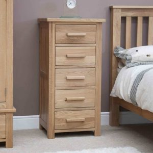 Homestyle Opus Solid Oak 5 Drawer Narrow Wellington Chest | Fully Assembled