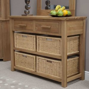 Homestyle Opus Solid Oak 2 Drawer Basket Console/Hall Table | Fully Assembled