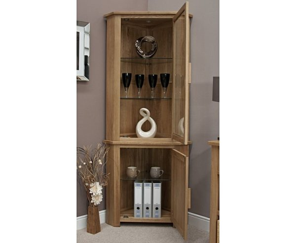 Homestyle Opus Solid Oak Corner Display Unit With Light | Fully Assembled